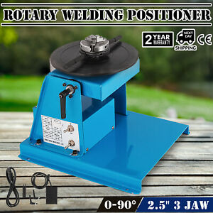 Us 110v Rotary Welding Positioner Turntable Table 2 5 3 Jaw Lathe Chuck 2 20rpm