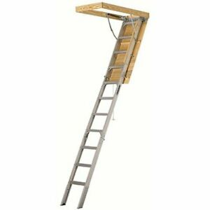 Ladder 25 1 2 By 54 inch Aluminum Attic Ladder 7 10 foot Ceiling 375lbs Cap