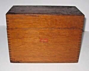 Large Weis 8 1 2 X 6 1 4 Oak Card Catalog Library Box Hinged W Dovetails
