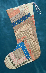 Primitive Antique Vintage Cutter Quilt Christmas Stockings Browns Etc 16 24