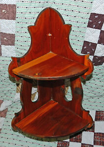 Awesome Antique Vintage Primitive Hand Crafted Wood Corner Shelf