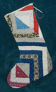Fabulous Antique Vintage Cutter Quilt Christmas Stocking 28 Log Cabin
