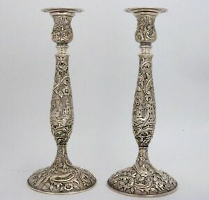 Sterling Silver Repousse Candlesticks Castle Landscape By The Loring Andrews Co