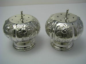 Taxco Handcrafted Sterling Silver Salt Pepper Shakers Pumpkins Mexico C1960s