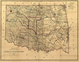 Indian Territory Ok C1887 Map 31x24