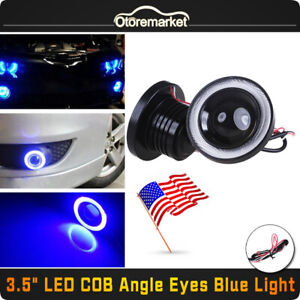 2x 3 5 Inch Cob Led Fog Light Projector Car Blue Angel Eyes Halo Ring Drl Lamps