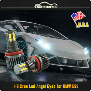 240w H8 Cree Led Angel Eyes Halo Ring Bulbs Canbus 6000k White For Bmw E90 E92
