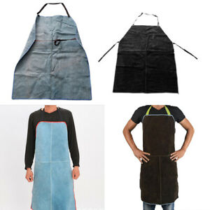 Leather Welding Apron Heavy Duty Work Aprons For Workplace blue brown 2pcs