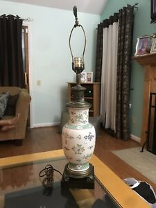 Mid Century Porcelain Lamp W Hand Painted Flower Detail 32 Tall