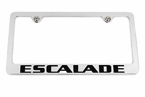 Cadillac Escalade Chrome License Plate Frame Cadillac Crest Logo Screw Covers