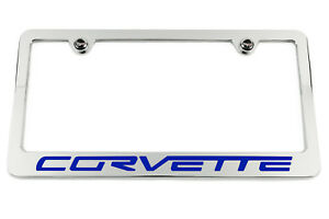 Chevrolet Corvette C6 Chrome License Plate Frame Made In Usa Blue