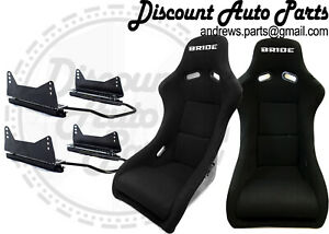 Bride Zeta 2 In Black Low Max Pair Bucket Seats Drift Race Long Mount Sliders