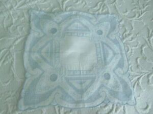 So Intricate Antique Net Lace Drawnwork Embroidery Pale Blue Bridal Hanky