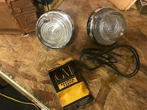 1955 1956 Pontiac Nos Back Up Light Set Bezel Lens Housing Gasket
