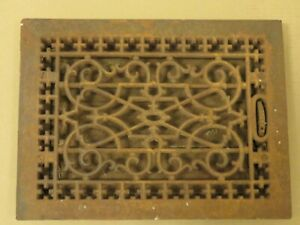 Ornate Cast Iron Grate Vintage Wall Floor Register Vent Art Deco With Back A