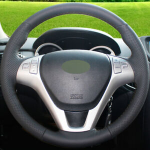 Hand stitched Black Leather Car Steering Wheel Cover For Hyundai Rohens Coupe 09
