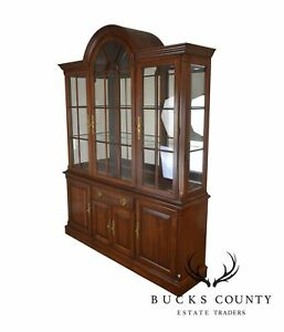 Pennsylvania House Cherry Arch Top Lighted Curio China Cabinet Breakfront B