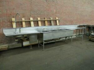 16 Ft Commercial Four Bay Stainless Steel Sink Dual Drain Boards Used