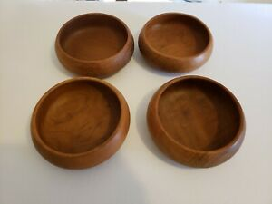 Acacia Wood Salad Bowls Made In Thailand Set Of 4 Beautiful Handmade Carved Wood