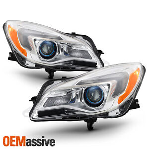 For 2014 2017 Buick Regal Halogen Projector Headlights Chrome Left right Pair