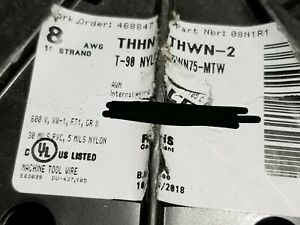 Alan Wire 8awg 19 Stranded Thhn thwn 2 mtw Building Wire Cable Black 100ft