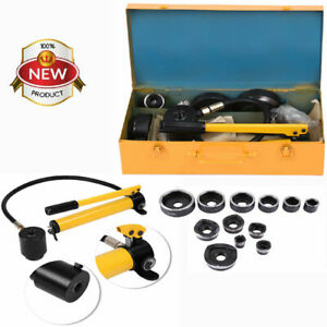 Hydraulic Knockout Hole Punch Driver Kit 10 Dies Gauge Conduit Hole Tool
