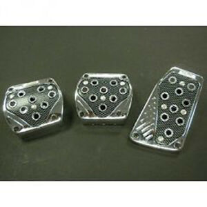 Universal Pedal Cover Chrome carbon Look Manual 3pcs set