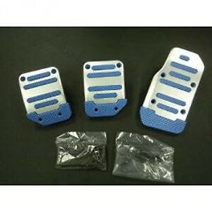 Universal Pedal Cover Blue silver Manual 3pcs set
