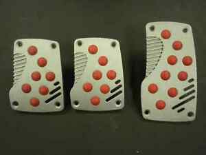 Universal Pedal Cover Silver red Manual 3pcs set