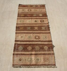 Anatolian Turkish Kilim Runner Rug Hand Woven Natural Wool 23 X 59
