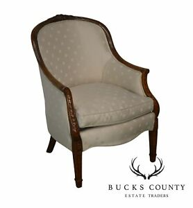 Custom Crafted George Iii Style Carved Frame Tub Chair