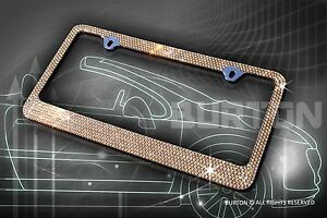 7 Rows Bling Brown Diamond Metal License Plate Frame Caps Screw