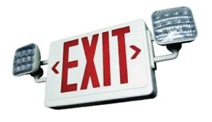 Red White Led Combo Exit Sign With Battery Back Up