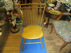 Antique Yellow Painted Bird Cage Back Windsor Chair