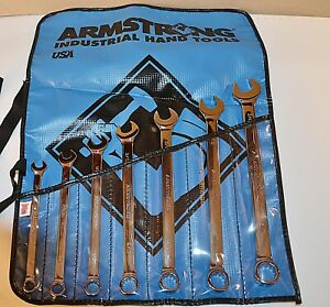 7 Piece Armstrong Usa Long Pattern Full Polish 12 Point Combination Wrench Set