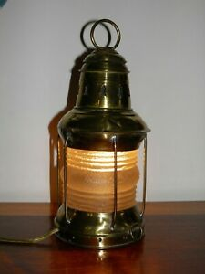 Antique Brass Oil Electric Lantern Nautical Maritime Ship S Light 13 Tall