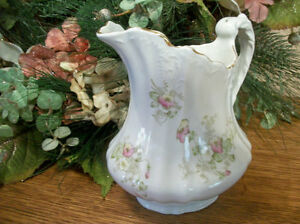 Porcelain Pitcher Sauce Syrup Water Serving Tableware Antique 1890s Epp Co Dish