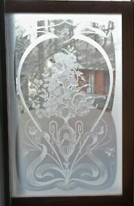 Antique French Acid Etched Glass Window With Wood Frame 36 X 24