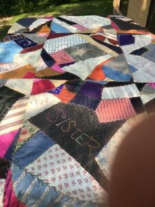 Antique Embroidered Crazy Quilt Top Used Shirts Primitive Hand Sewn Undated
