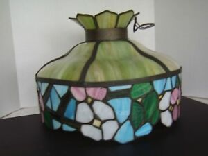 Antique Handmade Tiffany Style Stained Glass Hanging Lamp 17 Diameter