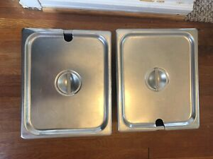 2 Pcs Steam Table Hotel Pans 1 2 Size 4 Deep Stainless Steel And Lids