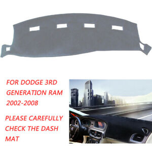 Dash Cover Mat Dashboard Cover Dashmat For 02 08 Dodge Ram 1500 2500 3500 Gray