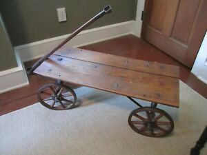 Antique Vintage Wooden Wagon Cart With Wooden Spoked Wheels And Iron Tires