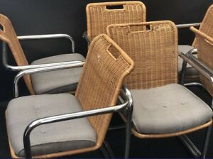 Chrome Cantilever Mid Century Modern Dining Room Chairs Wicker Rattan Knoll Mcm