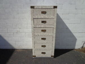 Vintage Lingerie Chest Tall Narrow Dresser Bedroom Storage Brass Accents Beachy