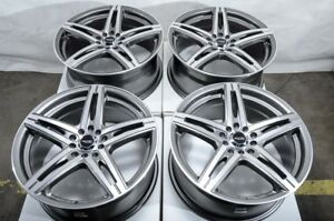 17 5x114 3 5x100 Gun Metal Wheels Fits Accord Mazda 3 6 Is250 Civic 5 Lug Rims
