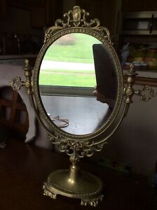 Vintage Solid Brass Ornate Vanity Table Dressing Dresser Swivel Mirror
