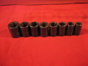 Vintage Snap On 1 2 Drive Impact Standard Socket Set 7 16 Thru 7 8 8 Pcs