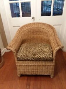Vintage Wicker Chair W Leopard Cushion