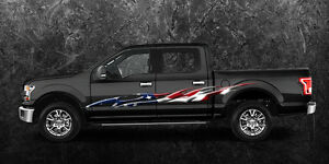 2 Car Truck American Flag Side Decals Graphics Stripes Vinyl b758 Ameri Flag